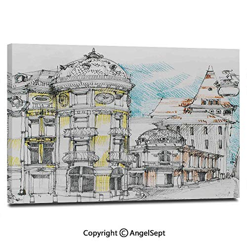 Modern Gallery Wrapped Pale Sketch Design of Middle Age Renaissance Building in European Old Town Cityscape Pictures on Canvas Wall Art Ready to Hang for Living Room Kitchen Home Decor,12