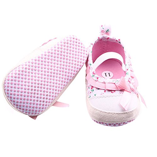 La Vogue Zapatos Bebe de Lona Patrón Flores Primeros Pasos Rosa Talla 12cm