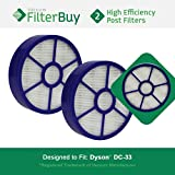 2 - Dyson DC33 (DC-33) Post Motor HEPA Filters, Part # 921616-01. Designed by FilterBuy to fit Dyson DC33 Multi Floor Upright Vacuum Cleaner.