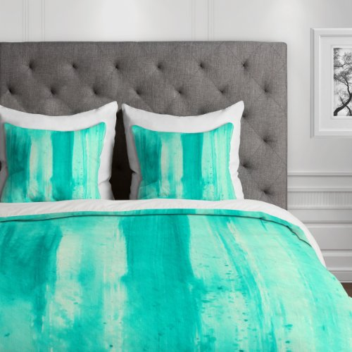 Deny Designs Madart Modern Dance Aqua Passion Duvet Cover, Queen by Deny Designs