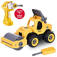 Feature:   EASY to take apart make assembling this toy easy and fun.  Everything needed for girls and boys to enjoy this amazing Road Roller are included in the box; A working drill with interchangeable drill bits and all batteries.  Easy to...