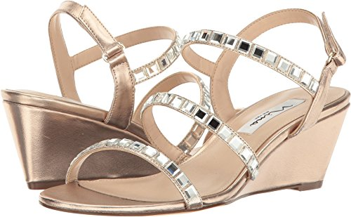 Heels Nina Metallic (Nina Women's Naleigh Wedge Sandal, FY-a-Blushtaupe, 9.5 M US)