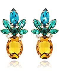 Vibrant Color Pineapple Earrings Jewelry with Crystal& Glass Beads for Beach Wedding Party Outfits with Gift Box - HLE0010