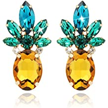 Holylove 2pcs Cute Yellow Pineapple Earrings Studs for Women Jewelry Hawaiian Party Daily with Gift Box