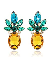 Holylove Vibrant Color Pineapple Earrings Jewelry with Crystal & Glass Beads for Beach Wedding Party Outfits with Gift Box