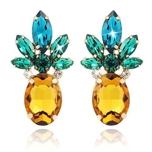 Holylove Vibrant Color Pineapple Earrings Jewelry with Crystal & Glass Beads for Beach Wedding Party Outfits with Gift Box - HLE0010 ()