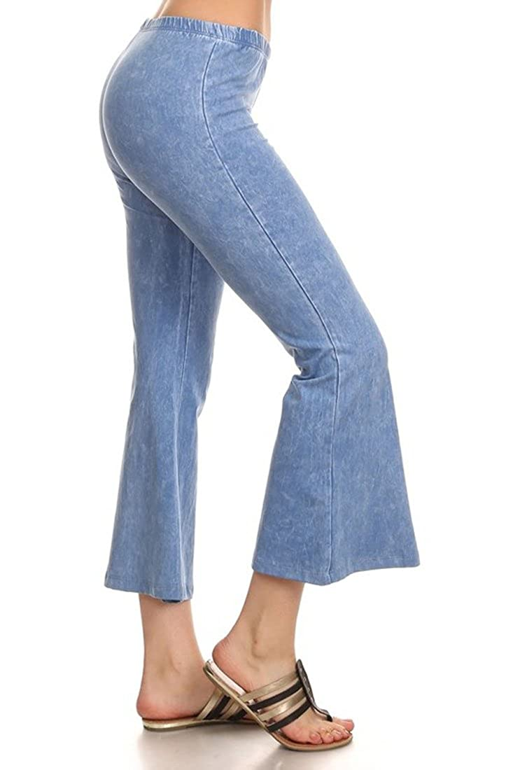 Denim Cropped Yoga Pants Lavender Blue