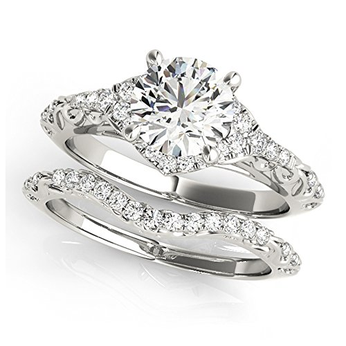 14K White Gold Unique Wedding Diamond Bridal Set Style MT50972