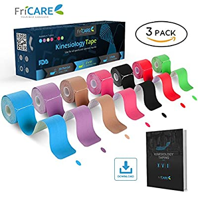 $4.1/Roll—FriCARE Pre-cut Kinesiology Sport Tape (3 Roll Pack), X Y I Shape, 16ft Athletic Kinetic Strip Aid, Breathable, Water Resistant, Pain Relief Adhesive for Muscles, Shin Splints, Knee&Shoulder