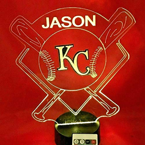(Royals MLB Light Up Lamp LED Personalized Free Kansas City Baseball KC Light Desk Lamp LED Table Lamp, Our Newest Feature - It's Wow, with Remote, 16 Color Options, Dimmer,)