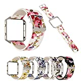 MeShow TCSHOW Soft PU Leather Pastoral/Rural Floral Style Replacement Strap Wrist Band Metal Adapter Compatible Fitbit Blaze