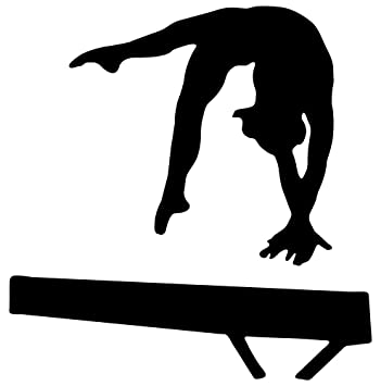 amazoncom gymnastics silhouette style 17 balance beam hand spring blac 12h x 12w peel and stick wall decal by wallmonkeys home kitchen