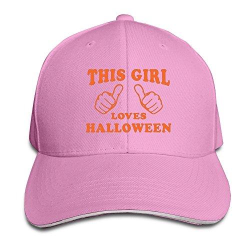 Runy Custom This Girl Loves Halloween Adjustable Sanwich Hunting Peak Hat & Cap Pink