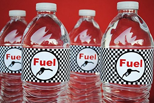 POP parties Race Car Bottle Wraps - Set of 20 Water Proof Bottle Stickers - Race Car Water Bottle Labels - Indy Party Decorations - Made in the USA ()