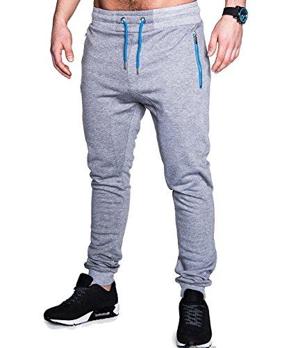 BetterStylz PRSBZ Men's Jogging Pants Jogger Regular Fit Fashionable Track Pants Contrast Zipper various colours (S-XXL) (Medium, Grey/Blue)