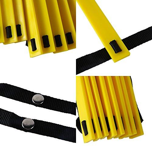 ReehutAgilityLadderw/FREEUSERE-BOOK+CARRYBAG-SpeedTrainingEquipment(Yellow,20Rungs)