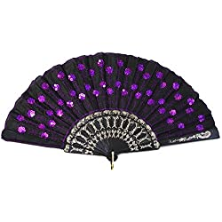 Koyal Wholesale 10-Pack Decorative Vintage Sequin Embroidered Fan, Violet