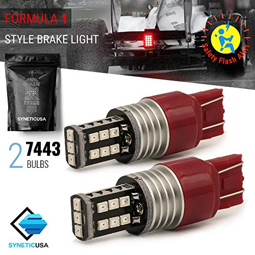Red Flashing Strobe Blinking Rear Alert Safety Brake Tail Stop High Power LED Light Bulbs (7443) ()