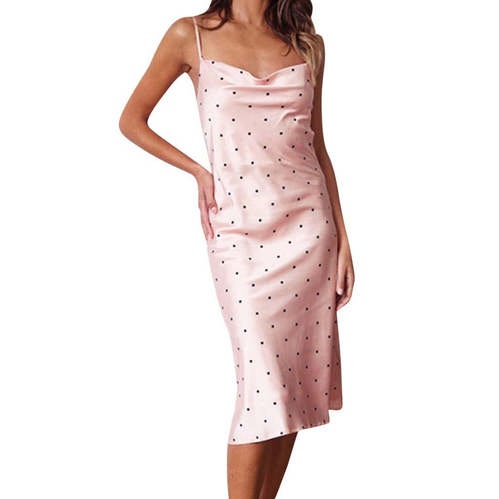 Alangbudu Women's Elegant Spaghetti Straps Deep V Neck Sleeveless Bodycon Party Maxi Pencil Dress Pink