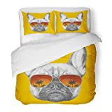 SanChic Duvet Cover Set Pink Dog Portrait of French Bulldog with Mirror Sunglasses Cool Drawn Decorative Bedding Set with 2 Pillow Shams Full/Queen Size