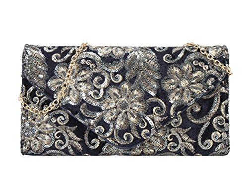 Purse Sequins Womens Archaized Clutch Diophy Blue Embroidered WzwXvvnP