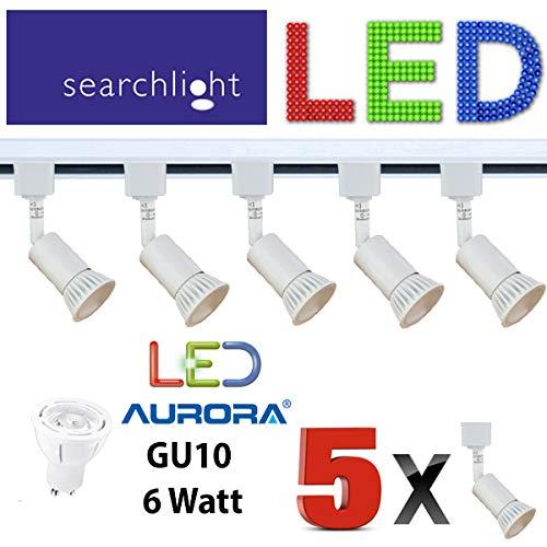 SEARCHLIGHT TRACK LIGHTING SPOTLIGHTS 8 X SPOTS 6 WATT LED LIGHT WHITE DIMMABLE