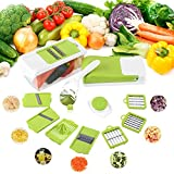 MVPower Multi-Functional Vegetable Slicer with 7 Interchangeable Stainless Steel Blades,Fruit Chopper Dicer with Food Storage Container