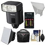 Sony Alpha HVL-F32M Flash with Batteries & Charger + Soft Box + Diffuser + Case Kit for A99, A68, A36000, A6300, A7, A7R, A7S, Cyber-Shot DSC-RX1R, RX10, RX100 II, HX400V Cameras