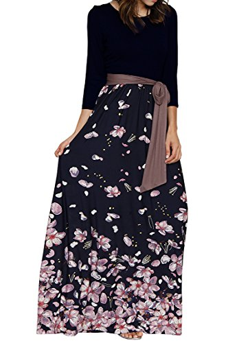 - Valphsio Women Floral Printed Long Sleeve Empire Maxi Dress with Pocket