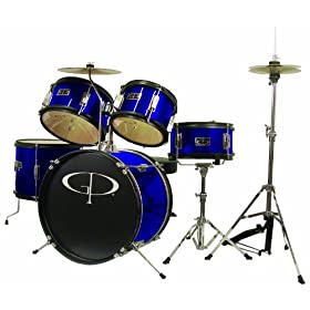 GP Percussion GP55BL 5-Piece Junior Drum Set with Cymbals and Throne in Blue 5