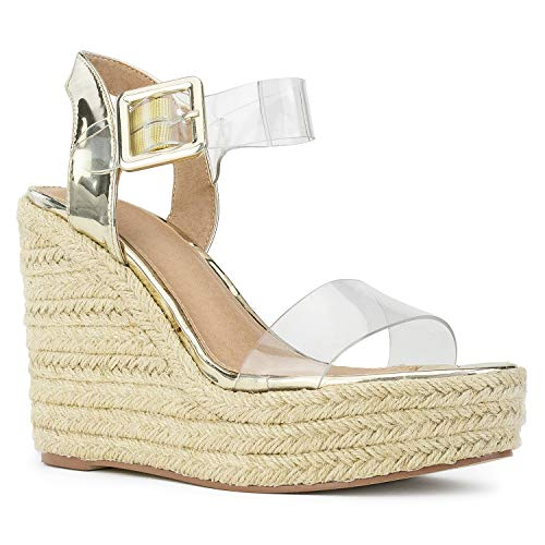 RF ROOM OF FASHION Open Toe Clear PVC Espadrille Platform Wedge Sandals Gold Size.7.5