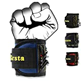 Grsta Magnetic Wristbands, With 5 Powerful Magnets magnet wristbands for Holding Tools,Screws,Nails,Bolts, Drill Bits and Small tools, nails and screws pouch (Blue)