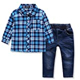 Image of Ferenyi US Kids Clothing Boys Casual Short Sleeved Plaid Shirt and Denim Jeans Sets (3-4 years, wathet)
