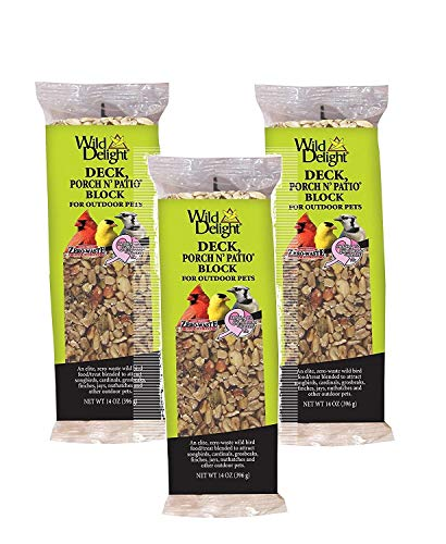 Wild Delight 3 Pack of Deck Porch N' Patio Blocks, 14 Ounces - Feed Bird Delight