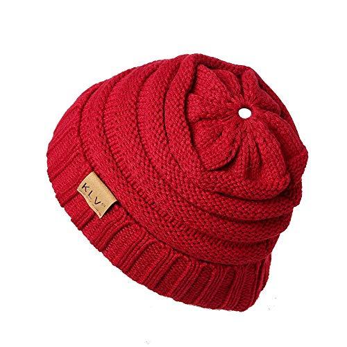 - HGWXX7 Unisex Men Women High Bun Ponytail Baggy Warm Crochet Wool Knit Ski Hat Skull Beanie Caps(One Size,Red)