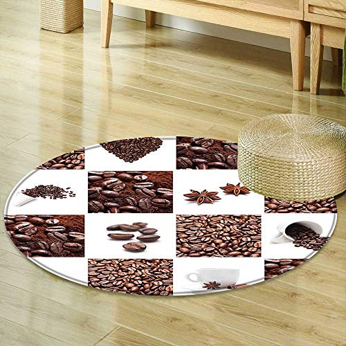 Round Rugs for Bedroom Kitchen Coffee with Roasted Beans Concept Collage Hearts Stars Espresso Latte Mugs Aroma Brown White Circle Rugs for Living Room R-35