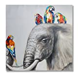 "In Liu Of | Modern Oil Painting on Canvas ""Never Forget"" (Parrots and Elephant) Hand-Painted Realism with Bold Colors & Black and White Fine Acrylic 