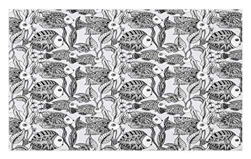 Lunarable Sea Animals Doormat, Monochrome Tropical Fish Pattern Underwater World Illustration Corals Algae, Decorative Polyester Floor Mat with Non-Skid Backing, 30 W X 18 L inches, Black White