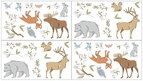 Sweet Jojo Designs 4-Piece Woodland Animal Toile Girl or Boy Baby and Kids Wall Decal Stickers [並行輸入品]   B078WW2SQJ