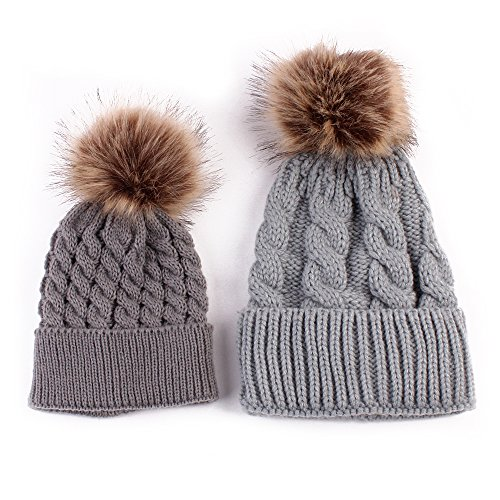 [2 Pcs Mother Child Baby Winter Warm Knit Beanie Crochet Matching Hat (Gray)] (Matching Costumes For Mom And Baby)