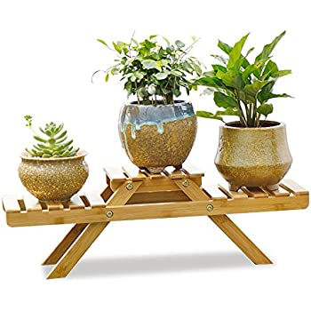 Amazon Com Indoor Potted Shelf Bamboo Plant Stand On