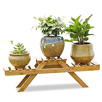 Amazon.com : Indoor Potted Shelf Bamboo Plant Stand on desk for ...