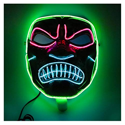 Angry Clown Face (ErYao Halloween Mask Led Masks Glow Scary Angry Mask Light Up Dance Mask for Festival Cosplay Costume Masquerade Parties)