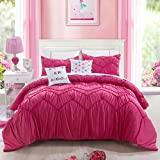Magenta Pink Elastic Embroidery Teen Bedding Twin Size Lovely and Cute Comforter Set for Girls