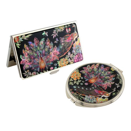 Antique Alive Mother of Pearl Peacock Design Business Credit Card Holder with Compact Mirror Set (B120)
