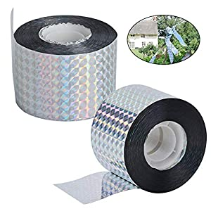 INTVN Bird Repellent Scare Tape Pest Control Bird Deterrent Reflective Double Sided Tape for Garden Farm 2 Pack