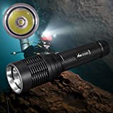 ANO SCI502 Dive Light 18650 Battery & USB Charger Included, Scuba Diving Light with Push Power Switch, Underwater Light Primary Dive Lights with 650ft/200M Waterproof