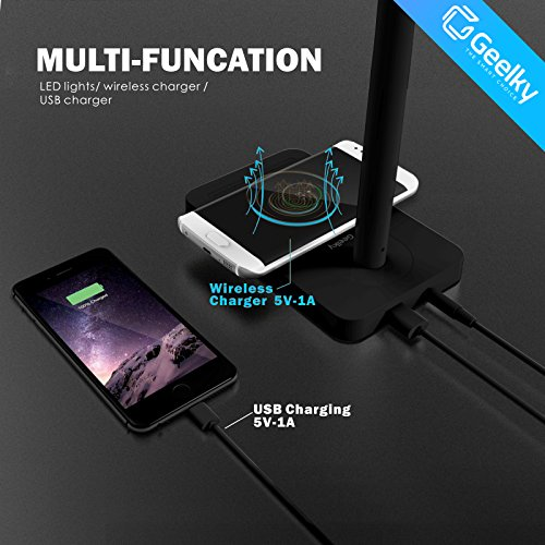 LED Desk Lamp with Qi Wireless Charger, Eye-caring Table Lamps, Dimmable Lamp with 5V/1A USB Charging Port, Office Desk Lamp, Touch, 4 Color Temperature Modes by Geelky (Jet Black) by Geelky (Image #1)