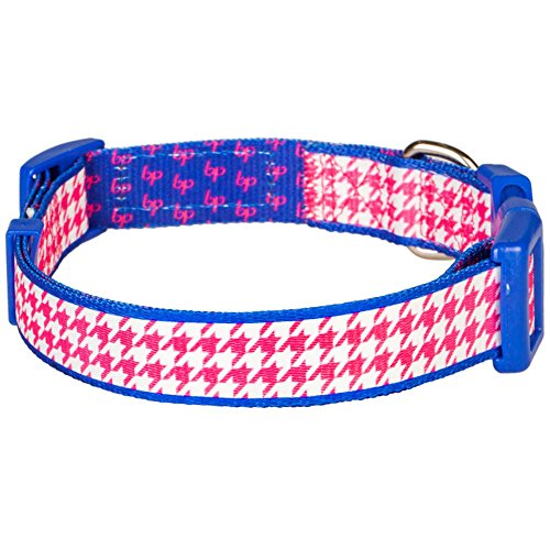 Blueberry Pet 13 Patterns Classy Houndstooth Statement Dog Collar, Hot Pink, Small, Neck 12