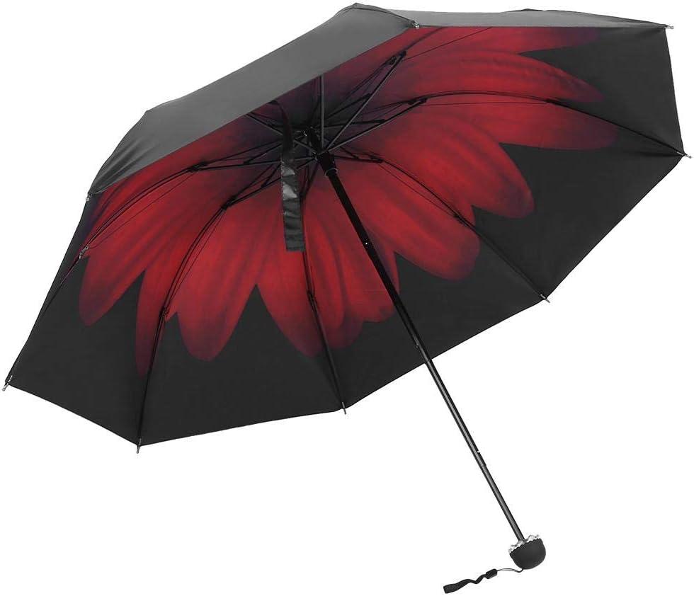 Portable Folding Sun Protective Black Glue Coating Print Inside Umbrella 01 FTVOGUE Fashionable UV Protection UPF50